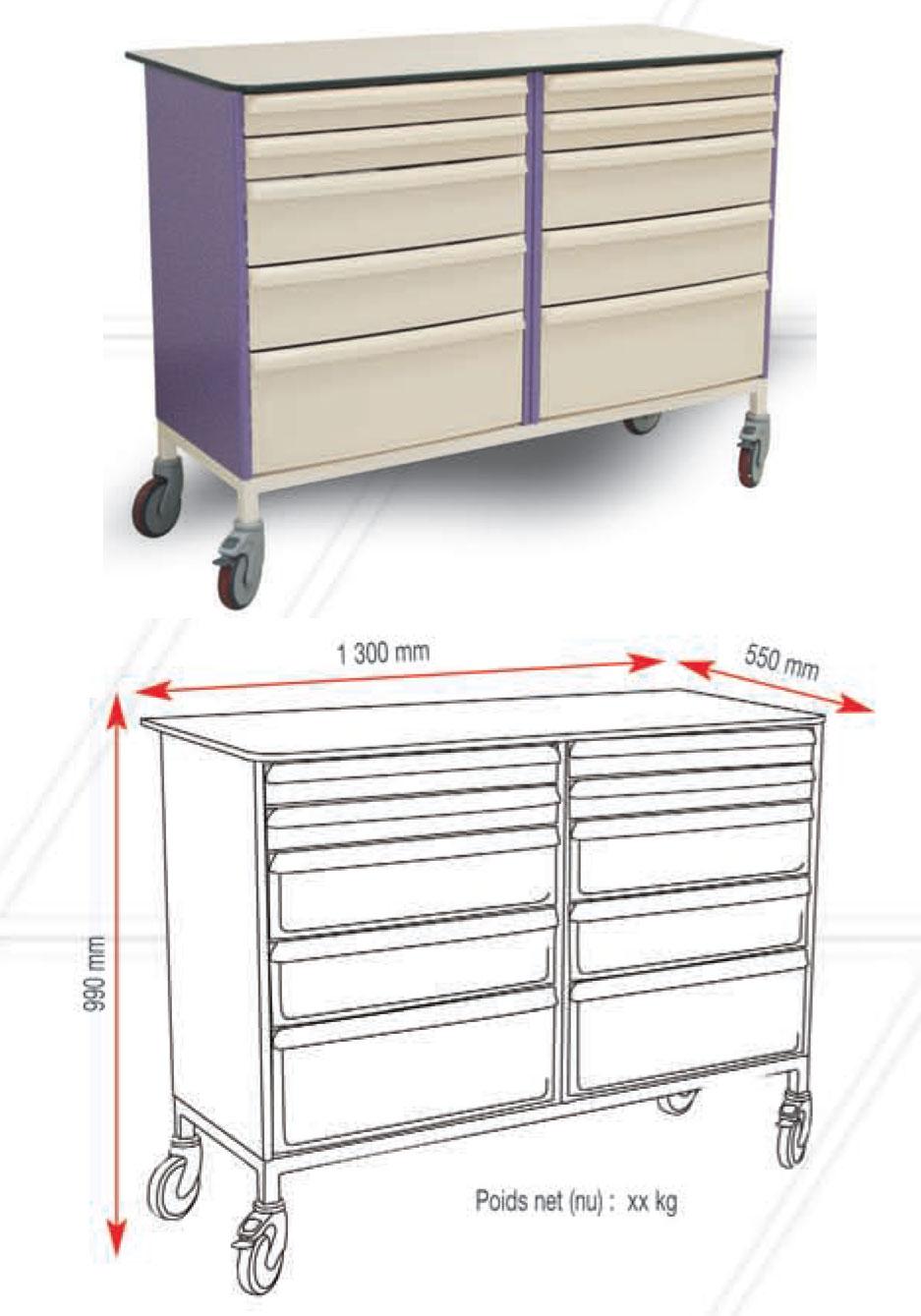 Plan De Travail Mobile delta scientifique médical distribution - matériel médical